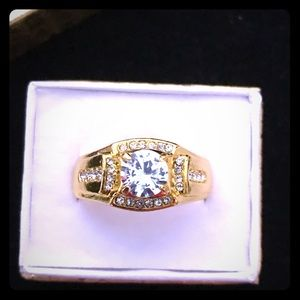 New Men's 2 CTTW Gold SS Diamond CZ Bling Ring